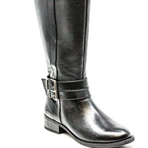 INC Frank II Wide Calf Heeled Boots Black